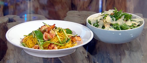 Prawn and courgette linguine with broad bean salad