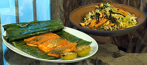 Gilthead sea bream in banana leaves with plantain salad