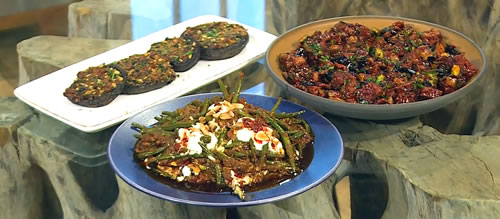 Pomegranate and aubergine salad with harissa