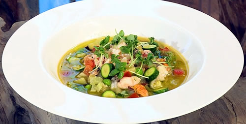Spring minestrone with shellfish