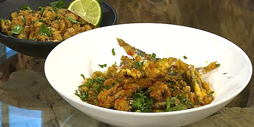 Fried anchovies with masala okra and cockle popcorn