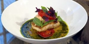 Hake, crab and tomatoes