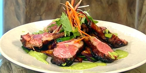Marinated lamb chops with a coriander and mint vinaigrette