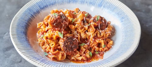 Pappardelle with homemade meatballs