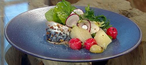 Pickled mackerel fillets with radish and kohlrabi salad