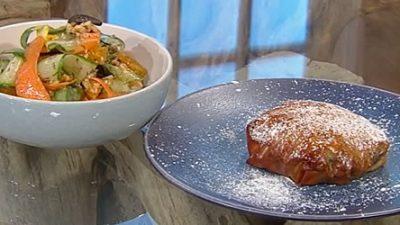 Chicken bastilla with orange salad