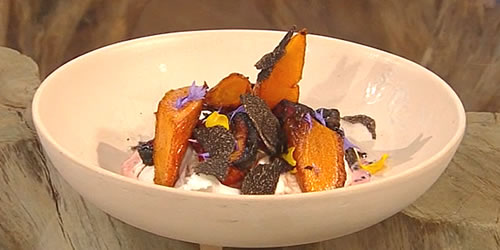 Coffee-roasted carrots with honey beetroot and burrata