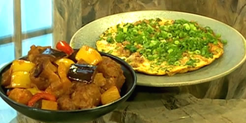 Sweet and sour pork with egg fu yung