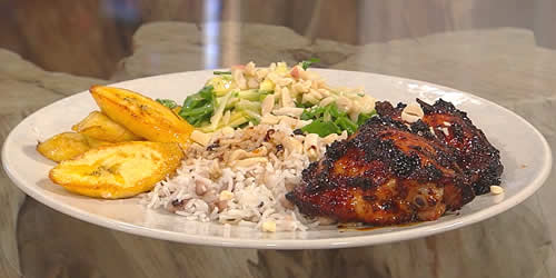 Chicken, rice, slaw and plantain