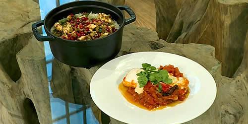 Chilli fish with tahini and mint rice