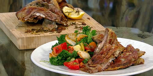 Roast lamb breast with heirloom tomatoes and kale