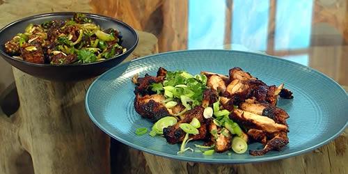 Crispy chicken with braised aubergine