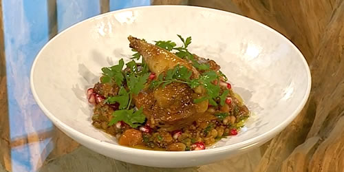 Pot-roasted pheasant with quinoa
