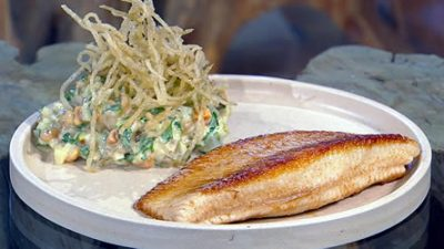 Ray with fermented fries and hazelnut tartare sauce