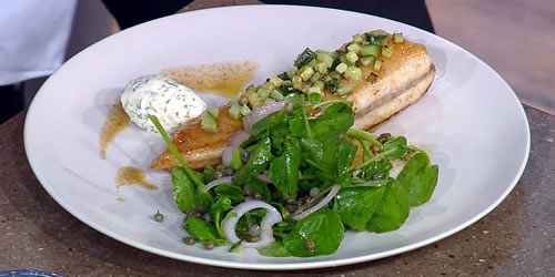 Fried sand dabs with horseradish mousse and caper salad