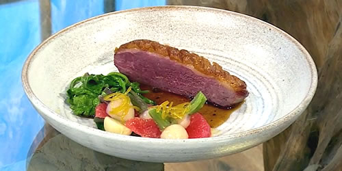 Pan-fried duck supremes with grapefruit and turnip