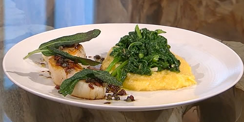 Pan-fried scallops with polenta and braised cime di rapa