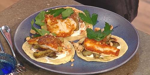 Roast aubergine tacos