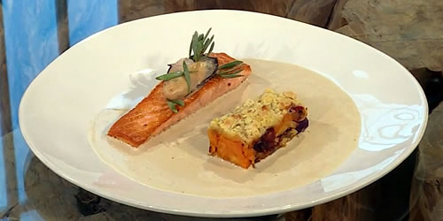 Salmon with oyster velouté and a vegetable crumble