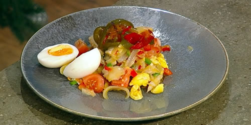 Ackee and saltfish with potato and plantain röstis
