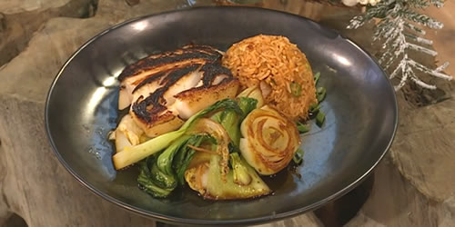 Black cod with steamed greens and kimchi rice