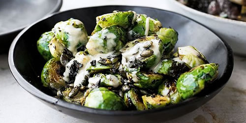 Brussels sprouts with burnt butter and black garlic