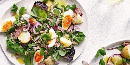 Ham hock with potato and egg salad