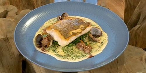 Roast hake, cockles in beef sauce, chive butter cream