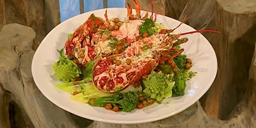 Steamed lobster with coriander pesto and roasted chickpeas