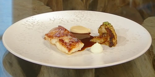Turbot with spiced cauliflower and lime yoghurt