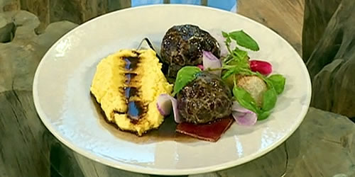 Venison faggots, radishes and creamy polenta
