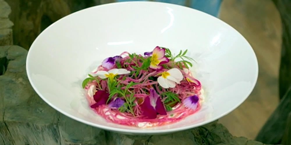 Candy beetroot, shallot and blood orange salad with ewe's cheese, pistachios and marigolds