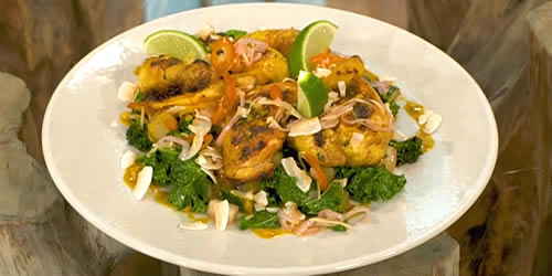 Coconut poussin with green vegetables