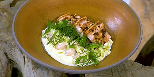 Crisp pork belly with oyster stew, thyme and fennel