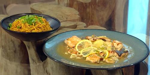 Pan-fried sea bass in lemon sauce