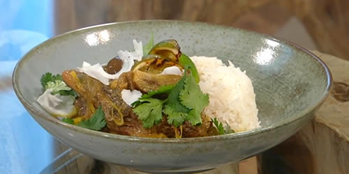 Braised beef rib, coconut and aubergine curry