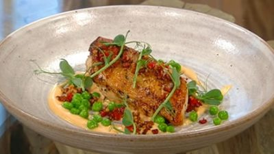 Chicken mornay with chorizo crumb
