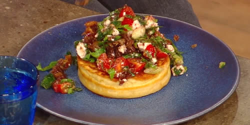 Crispy lamb belly with hot cakes and spiced feta