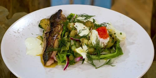 Grilled mackerel with brown butter potatoes and boiled eggs