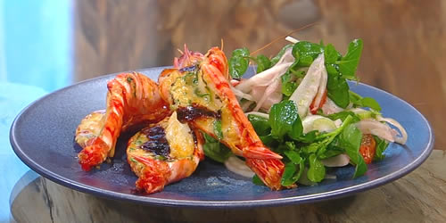 Prawn thermidor with watercress and blood orange salad