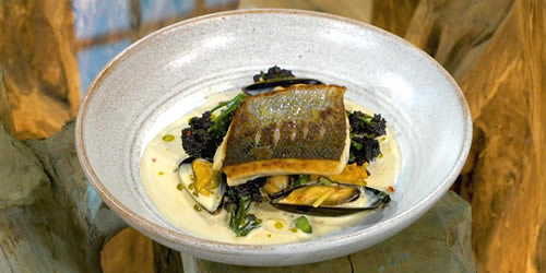 Wild sea bass with ginger mussels