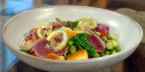 Gnocchi primavera with grilled tuna and confit lemon