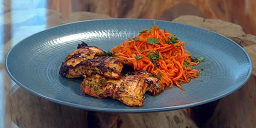 Kefir and herb barbecued chicken with Korean carrots