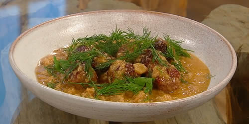 Spanish meatballs in an almond and sherry sauce