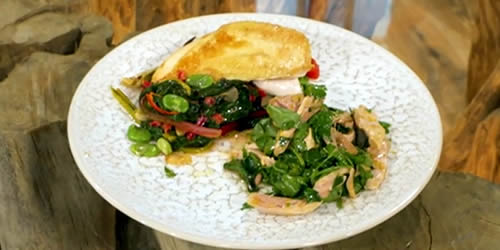 Roasted chicken crown with citrus and herb salad