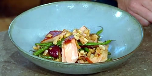 Hot smoked salmon with miso and peanuts