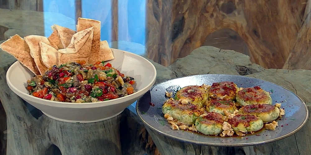 Smoked aubergine, pepper and walnut salad with pomegranate