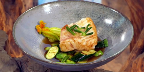Turbot, with broad beans, courgette and dashi