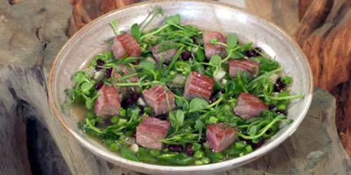 Pea, tuna and tarragon broth
