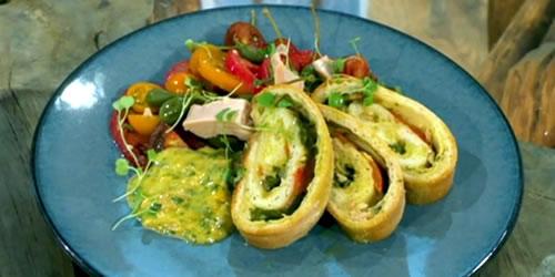 Smoked mozzarella stromboli with a tuna, tomato and caper salad